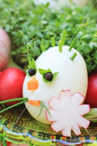 A funny decorate egg for an Easter breakfast