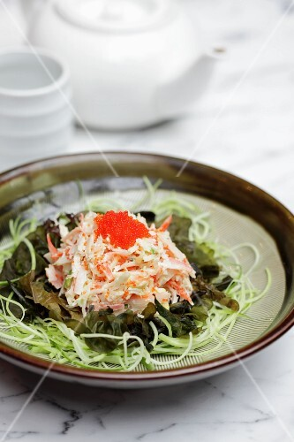 Octopus salad on a bed of seaweed (Asia)