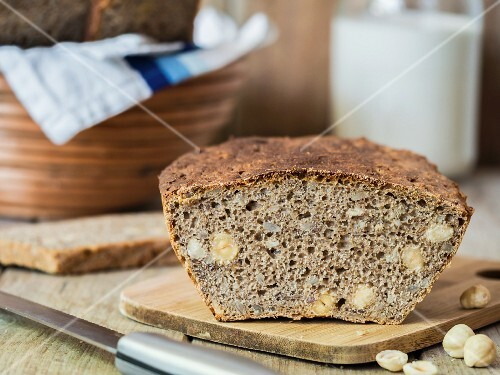 Freshly baked rye sourdough bread with seeds and hazelnuts