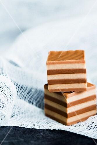 Handmade layered nougat cubes