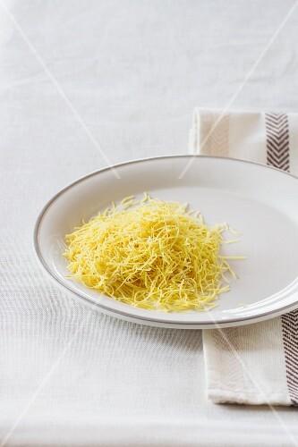 Soup noodles on a plate