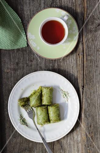 Pistachio baklava and tea