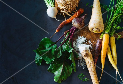 Fresh Root Vegetables on a White Background
