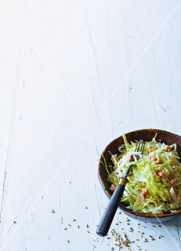 White cabbage salad with bacon