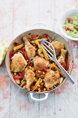 Roasted vegetable chicken with sweetcorn, peppers, avocado and potatoes