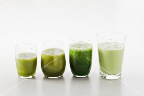Four green smoothies