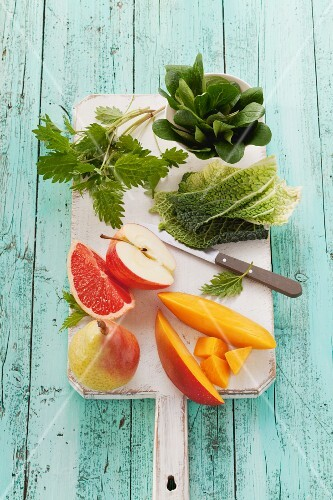 Smoothie ingredients on a chopping board