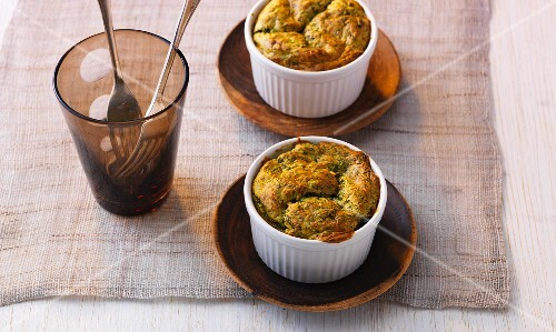 Spinach and goat's cheese soufflés