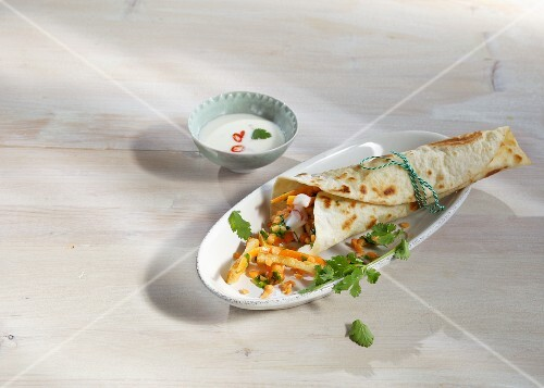A wrap from Marrakesh with red lentils, tofu and carrots