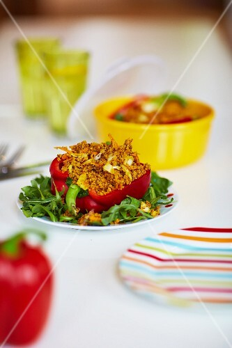 Red peppers with a curry and nut filling