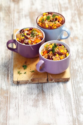 Beef with kidney beans, sweetcorn and rice in a tomato and chilli sauce