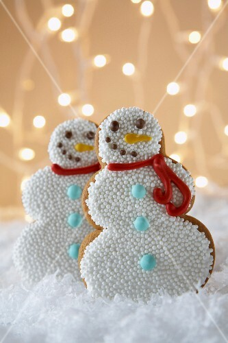 Snowman gingerbread biscuits for Christmas