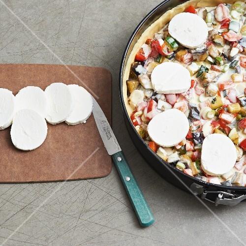 Ratatouille quiche with mozzarella (unbaked)