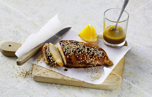 Roast chicken breast with sweet chilli sauce and sesame seeds