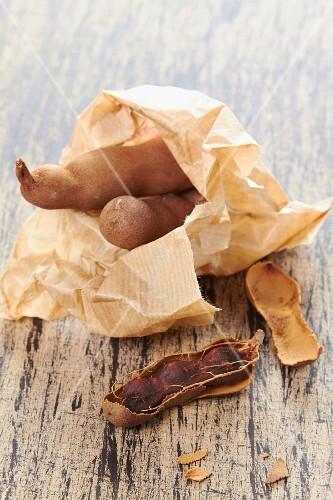Tamarinds in a paper bag