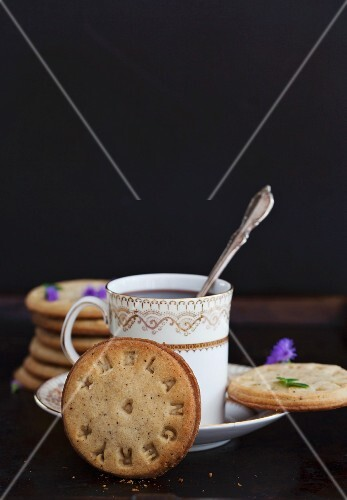 Stamped hazelnut biscuits served with coffee