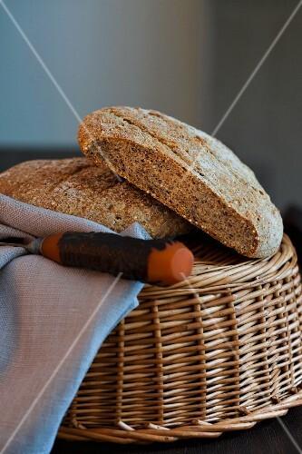Seeded rye bread in a basket