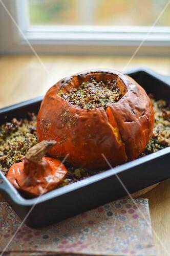 Stuffed, baked pumpkin