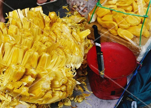 Jack fruits for sale at a Thai market
