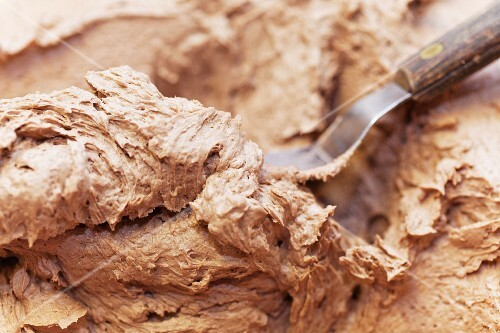 Raw cake mixture with cocoa