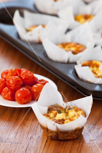 Mediterranean omelettes in a muffin tin