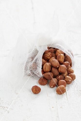 Hazelnuts in a muslin cloth