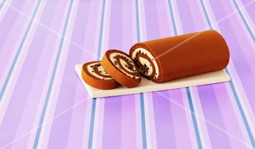 Chocolate Arctic roll, sliced