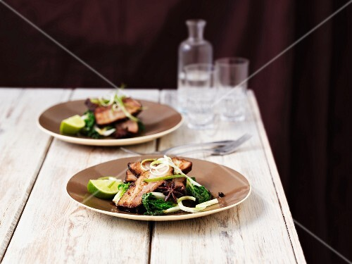 Pork belly with limes and bok choy (Asia)