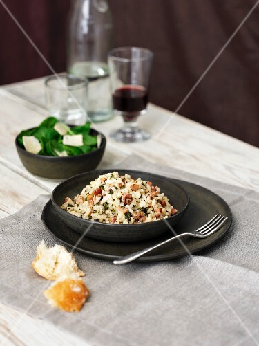 Panchetta and spinach risotto with a spinach salad