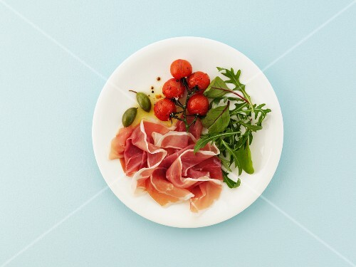 Proscuitto with roast tomatoes and salad