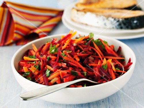 A colourful carrot salad with parsley