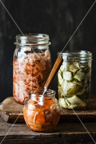 Various pickles in jars