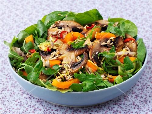 A warm mushroom salad with sesame seeds