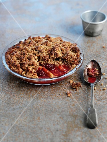 Fruit crumble in a glass baking dish