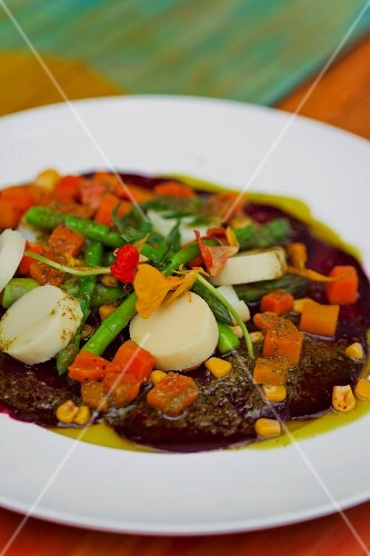 An exotic vegetable dish with bamboo shoots and water chestnuts