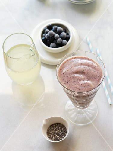 A blueberry smoothie with coconut water and chia seeds