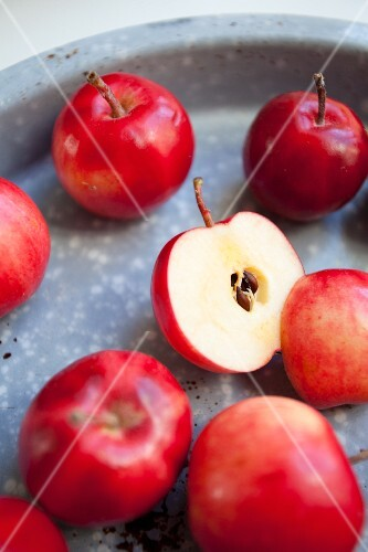 Red crab apples on a metal tray