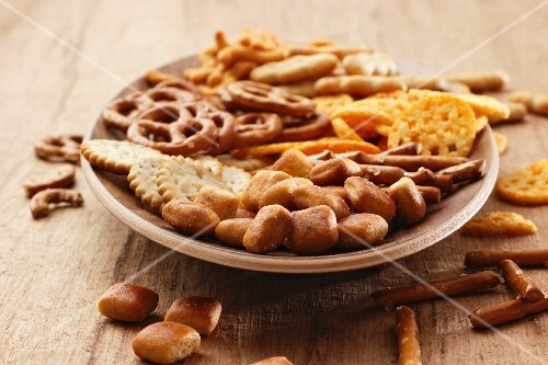 A plate of snacks