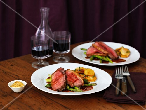 Picanha steak with potatoes and asparagus