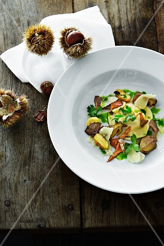 Ravioli with mushrooms and chestnuts