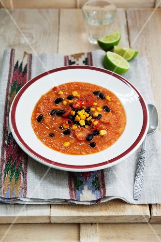 Sweet potato and tomato soup with sweetcorn, chilli and black beans