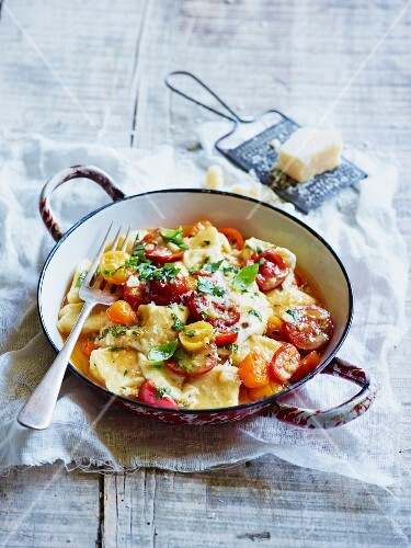 Gnocchi with cherry tomatoes and Parmesan cheese