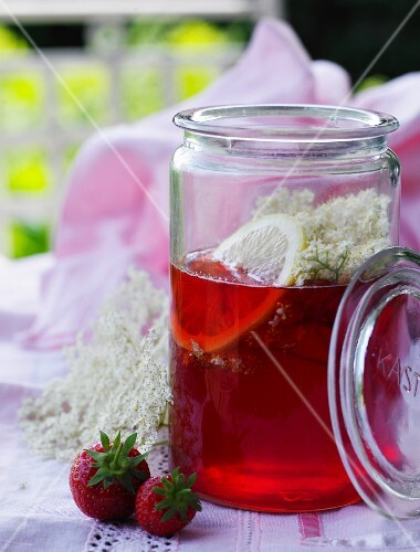 Elderflower syrup with strawberries