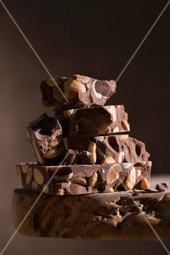 A stack of chocolate turron from Spain