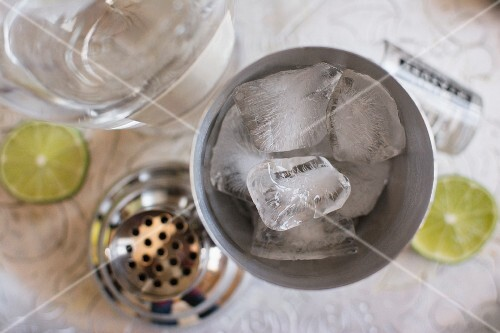 Ice cubes in a cocktail shaker