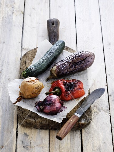 Grilled vegetables on a chopping board