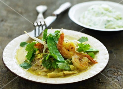Yellow prawn curry with vegetables