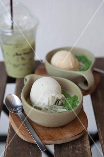 Coconut ice cream with pandan cream (Thailand)