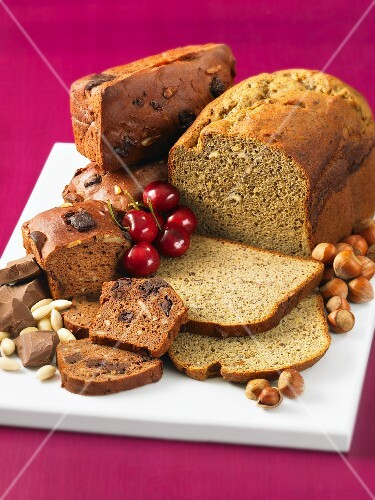 Hazelnut and buckwheat bread, and chocolate and almond bread