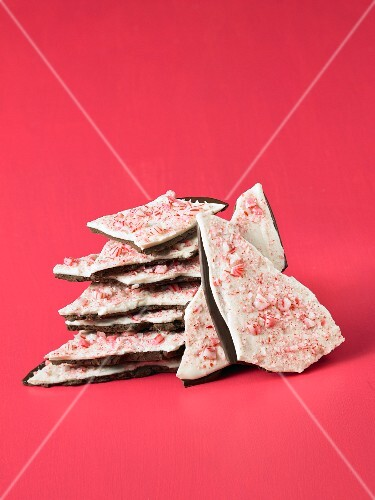 A stack of peppermint bark